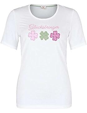 h.moser Salzburg Damen Damen T-Shirt Glücksbringer Weiß, 0122 Weiß,