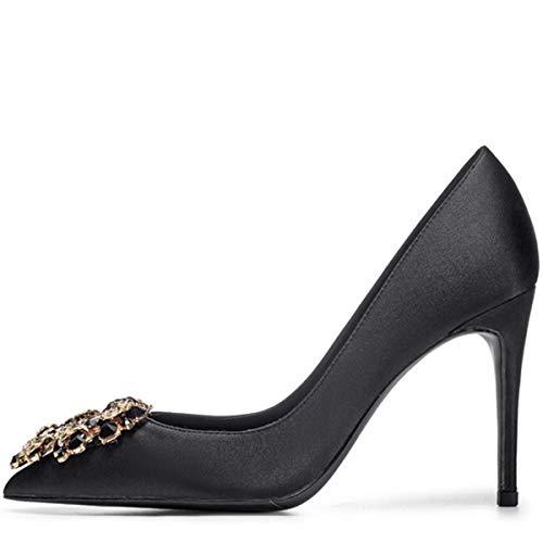 XWQYY Spitzen high Heels sexy Stiletto Satin Strass flachem Mund Abendessen Kleid schwarz Damenschuhe,Black 9CM-36EU Stiletto Heel Slide