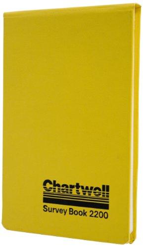 """Chartwell - Cuaderno para trabajos de campo con hojas en blanco, 106 x 165 mm, 80 hojas, diseño con texto""""Chartwell, Survey Book 2200"""", color amarillo y negro"""