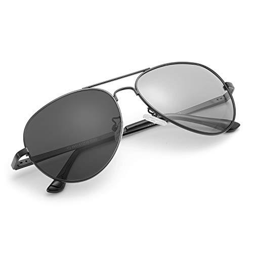 Myiaur Photochromatisch Sonnenbrille Herren Polarisiert für 100% UVA UVB Schutz Metall rahmen Leicht (Schwarz)