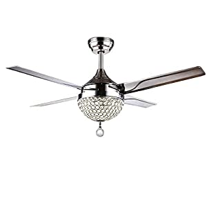 WHYIN 44'' Ceiling Fan Light with Remote Control 4 Stainless Steel Blades 3-Color dimming Crystal Light Chandeliers Pendant Lighting for Dinning Room, Restaurant, Cafe