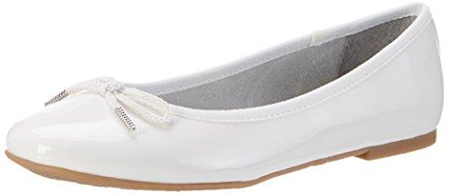 Tamaris Damen 22123 Geschlossene Ballerinas, Weiß (White Patent 123), 41 EU (Flache Leder Patent Ballerina Schuhe)