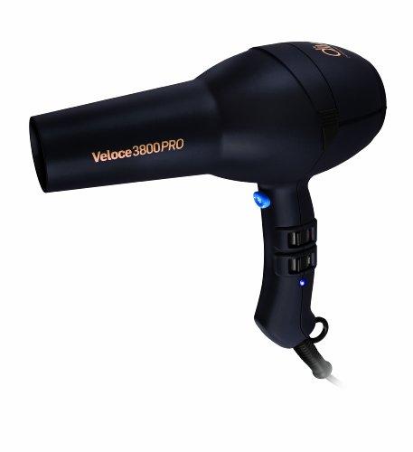 Diva Professional Veloce 3800 Pro Black Diva Sèche-cheveux professionnel avec moteur AC longue durée et embout étroit professionnel noir