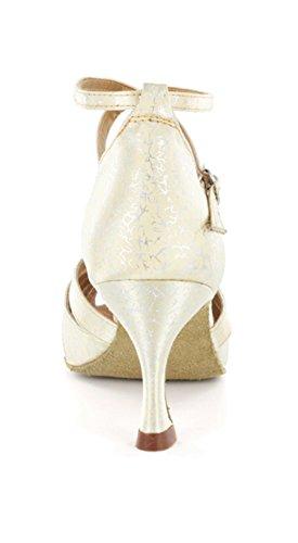 Minitoo da donna cinturino alla caviglia taglio svasato tacco sandali comodi scarpe danza moderna Ivory