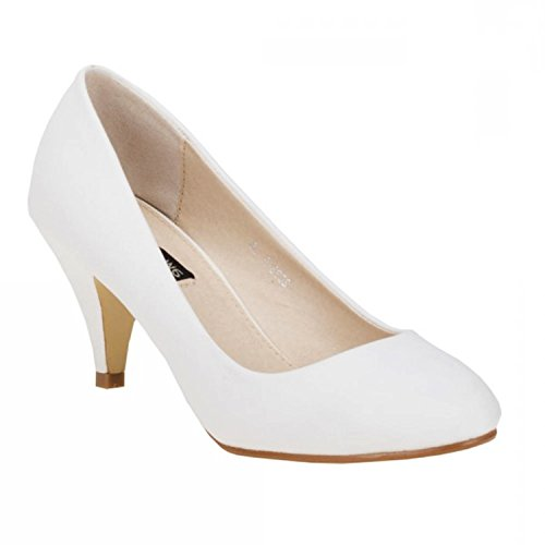 Klassische Damen Pumps Stilettos Abend Schuhe Party Hochzeit 33 (37, Weiß)