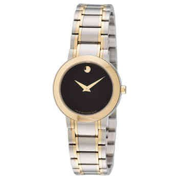 Movado Women's Stiri 28mm Two Tone Steel Bracelet Steel Case Quartz Black Dial Analog Watch 0606951