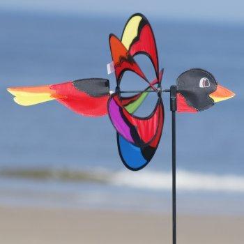 Windspiel - Magic Bird - UV-beständig und wetterfest - Windrad: Ø38cm, Motiv: 46x18cm, Gesamthöhe: 103cm - inkl. Fiberglasstab und Bodendübel (Bird)