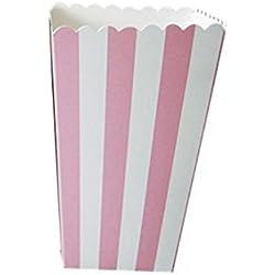 Cajas de palomitas de maíz a rayas para niños, cajas de regalo (recuerdos); para bodas, cumpleaños, cajas decorativas, de color rosa, 12 unidades