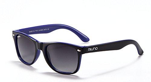 Miuno® Kinder Sonnenbrille Wayfare für Jungen und Mädchen Etui 2688 (Schwarz/Blau)