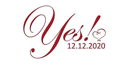 Wandtattoo Hochzeit - Yes mit Herz