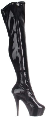 Pleaser - Kiss-3000, Stivali classici sopra il ginocchio, non imbottiti Donna Nero (Blk Str Pat/Blk)