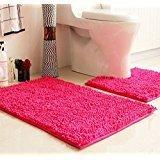 7 : Ustide New 2-Piece Fluffy Rugs Hot Pink Chenille Door Mat Toilet Contour Rug+Bathroom Mat