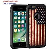 iPhone 6 Plus Case, iPhone 6S Plus Fall, Rossy Retro Vintage Old USA American Flag Design Dämpfung Hybrid Dual Layer Rüstung Defender Schutzhülle für Apple iPhone 6/6S Plus 14 cm (Iphone 4 Amerikanische Flagge Fall)