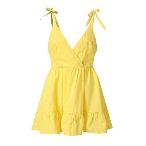 Lazzboy Frauen Reizvolles Backless Weg Vom Schulter-Sleeveless Kleid Princess Dress Damenmode Tasche Lose Damen Rundhalsausschnitt Beiläufige Tägliche(Gelb,L)