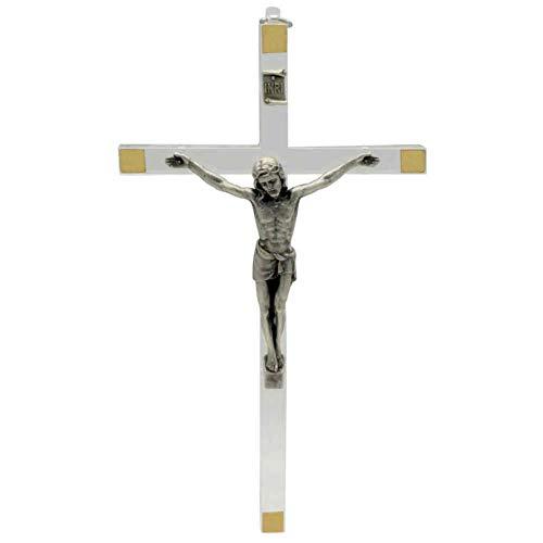Wandkreuz Acrylkreuz Kruzifix modern transparent Christus Körper Metall Silber Ecken goldfarben 17 x 9,5 cm Schmuckkreuz Handarbeit