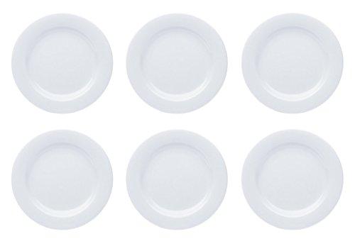 Teller Porzellan Weiß Speiseteller Suppenteller Dessertteller Pastateller Schüssel 6 Stück Set Modell-Auswahl, Modell:19 cm Ø Teller flach (Teller Weiße Porzellan)