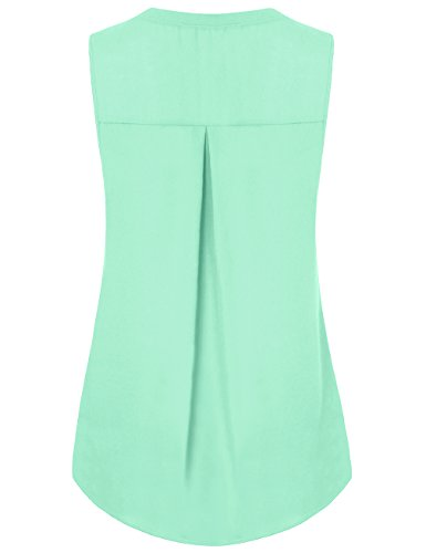 Messic Frauen V-Ausschnitt ärmellose Hemden Knopf Chiffon Bluse Tunika Tank Top Grün