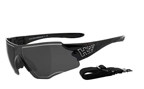 HSE SportEyes® | HLT® Kunststoff-Sicherheitsglas nach DIN EN 166 | Sportbrille, Radbrille, Sonnenbrille| Brillengestell: schwarz, Brille: SPEEDWULF