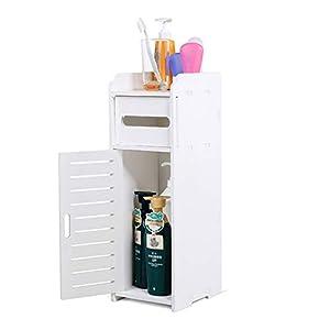 Armario de Baño, Armario de Suelo Resistente a la Humedad Estante Organizador con Capa de Papel para baño Mueble Columna Dormitorio Cocina Pasillo (22 × 8.6 × 7.5 Inch)