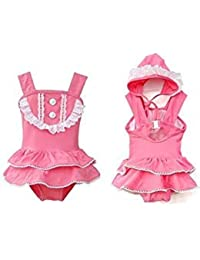 fafea82dc22 stylesilove Little Girl Ballerina Ruffle Lace Buttons Swimsuit and Hat 2-pc  (5-
