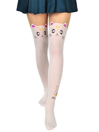 CoolChange Medias con diseño de Gato de Sailor Moon, Color: Artemis, Blanco