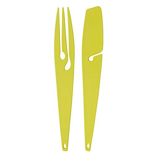 Koziol Shadow Ustensiles pour Barbecue, Plastique, Solid Mustard Green, 34.7 x 5.2 x 1.5 cm