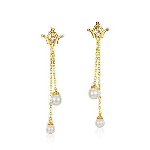 Knsam Damen Ohrring 925 925 Sterling Silber Vergoldet 9 K Gelb Gold Krone mit Süßwasserperle Gold Ohrringe (Schmetterling 9ct Ring Gold)