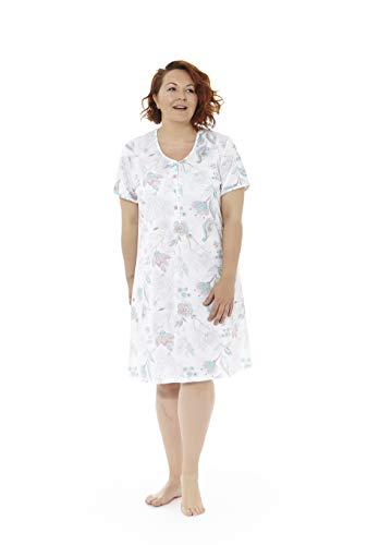 Mabel intima camicia da notte a maniche corte con stampa a fiori verdi. taglie grandi. taglia 70.