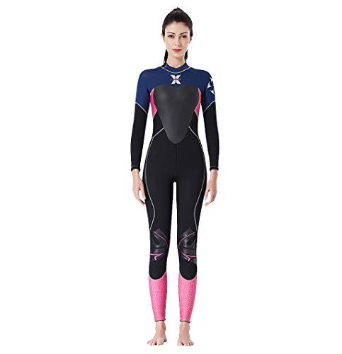 MOTOCO Damen Ganzkörperansicht Badeanzug Overall Wetsuit Surfanzug Lange Ärmel Tauchanzug - Strand Watersport UV Schutz Schwimmanzug (S,Schwarz)