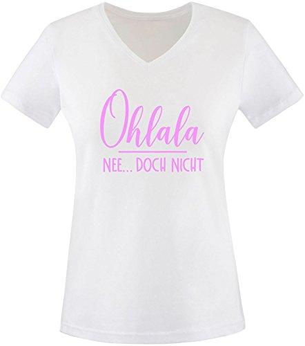 EZYshirt® Ohlala - Nee...doch nicht Damen V-Neck T-Shirt Weiß/Rosa