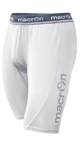 CHEMAGLIETTE! Scaldamuscoli Uomo Macron Quince Pantaloncini per Allenamento Palestra Calcio, Colore: Bianco, Taglia: M