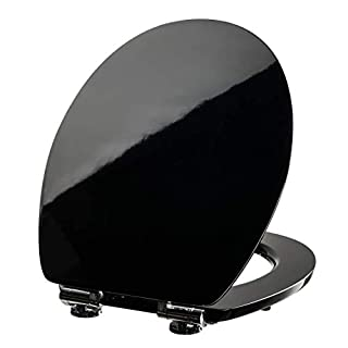 VILSTEIN WC Sitz Absenkautomatik, Antibakteriell, Stabile Metall-Scharniere verchromt und rostfrei, hochwertige und stabile Qualität aus MDF Holz, WC Deckel, Hochglanz schwarz