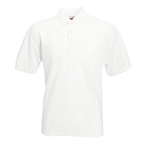 White Herren Shirt (Fruit of the Loom - Piqué Polo Mischgewebe L,White)