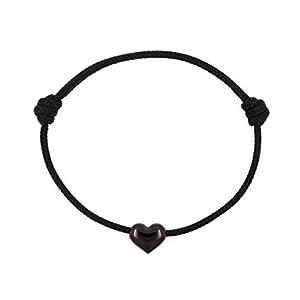 KOMIMAR dezentes Herzchen Armband BLACK HEART - Edelstahl Schmuck- viele Tau Farben - dezent - verliebt - Liebe - Geschenkidee - Herz - Ich Liebe Dich - Frauen Armband