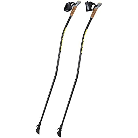 Exel Nordic Walking Stock Walker Curve QLS - Bastón de marcha nórdica, color negro / amarillo / blanco, talla