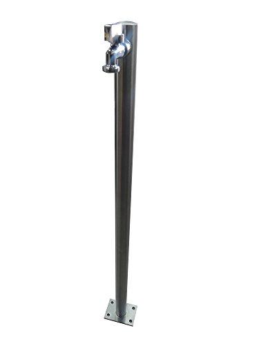 Wasserzapfstelle Edelstahl Wasserzapfsäule Wasserverteiler mit Schlauchhalter 1m WS4210SH