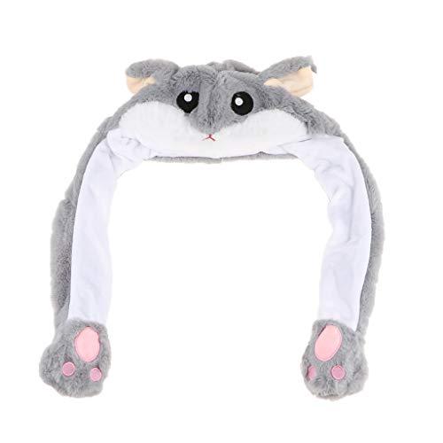 Fenteer Lustige Plüsch Tier Hut Mütze, Beweglich Ohren durch Kneifen Airbag, Erwachsene und Kinder - Hamster (Hamster Kostüm Für Erwachsene)