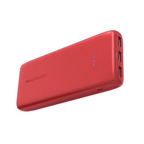 RAVPower 22000mAh Powerbank Externer Akku 3-Port 5,8A iSmart 2.0 Lithium-Polymer Kompatibel mit iPhone XS Max/XR/X / 8/8 Plus / 7 / 6s / 6, iPad, Galaxy S8 / S9 usw, Rot 20000mAh