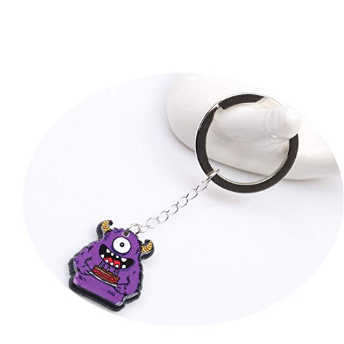 Reosu Halloween Schlüsselanhänger Monsterförmiger Schlüsselanhänger Schlüsselbund Auto Halloween Deko Acryl Anhänger Purple