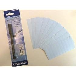 100 Bleu clair Ruban thermocollant Noir textile indélébile Maker Pen-étiquette étiquettes pour enfant uniforme scolaire ou d'allaitement, les maisons de retraite