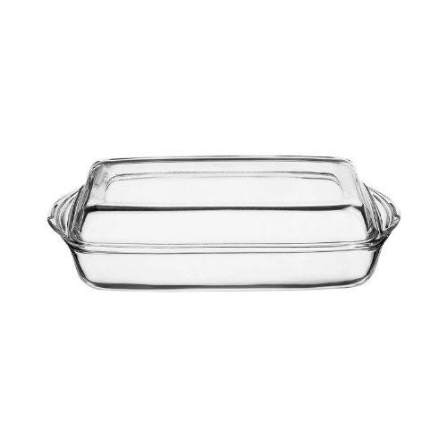 Pasabahce 59009 Borcam - Auflaufform, Servierform und Backform, rechteckig aus Glas mit Deckel, 2-teilig, 33 x 19 cm