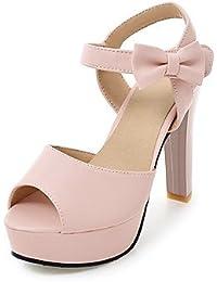 NVXZD Mujer-Tacón Robusto-Zapatos del club-Sandalias-Oficina y Trabajo Vestido Fiesta y Noche-PU-Blanco Negro Beige Rosa , blushing pink , us8.5 / eu39 / uk6.5 / cn40