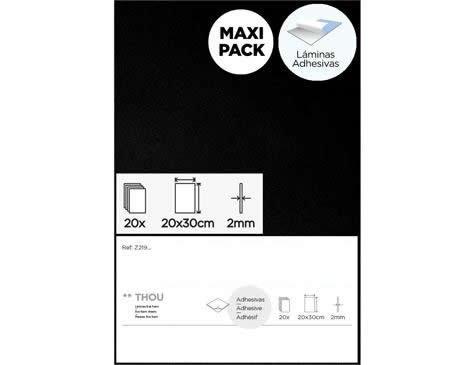 Goma eva negro láminas adhesivas 20x30cm.x2mm. 20u