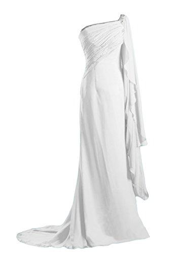Gorgeous Bride Modern Ein-Traeger Etui Chiffon Lang Schleppe Abendkleid Festkleid Ballkleid Weiß