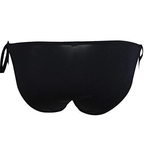 FEESHOW Homme Lingerie Underwear Caleçon Slip Bikini Brief Avec Fixation à Cordes Taille Basse Noir1