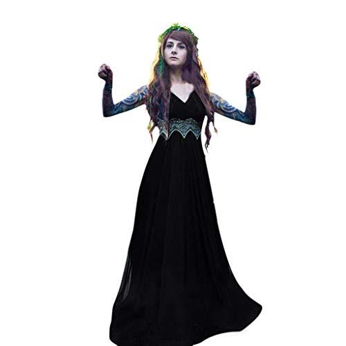 GODDOIT Damen Korsagekleid Steampunk Gothic Kostüm Magic Mistress Hexenkostüm Teufelchen Halloween - Kostüm D'halloween Indienne