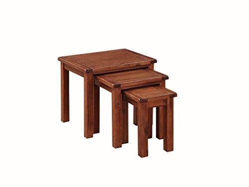Pendleton Acacia Nest of Tables Set of 3 - Set of 3 Nesting Tables - Finish : Acacia Dark Oak - Living Room Furniture