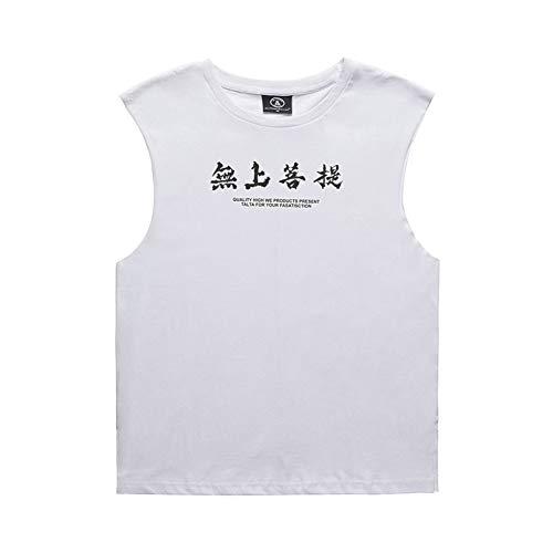 Unisex Casual Weste, einzigartige personalisierte Text gedruckt Frauen Männer Baumwolle runden Kragen Liebhaber lose ärmelloses T-Shirt(XXL-Weiß) - Weißer Text Ärmelloses T-shirt