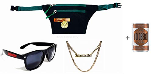 Preisvergleich Produktbild Jägermeister Fan Set - 3teilig bar reklame Party Festival beachparty Fasching + Goldberg Intense Ginger 0, 15l EINWEG