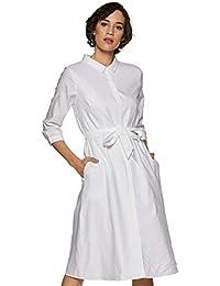 Van Heusen Woman Shirt Knee-Long Dress (VWDRFRGFV44872_White_M)